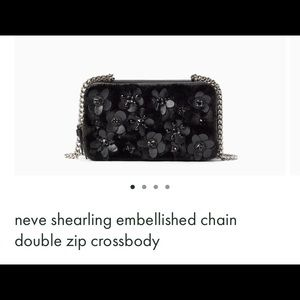 neve shearling embellished chain double zip NWT